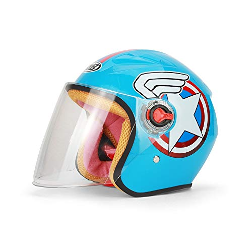 Helm Geyao Kinder Motorradhelm Cartoon Herbst und Winter Half Cute Saison Elektroauto (Color : B)
