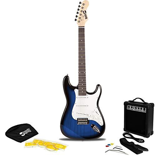RockJam 6 String Electric Guitar Pack, Right, Blue Burst (RJEG02-SK-BB)