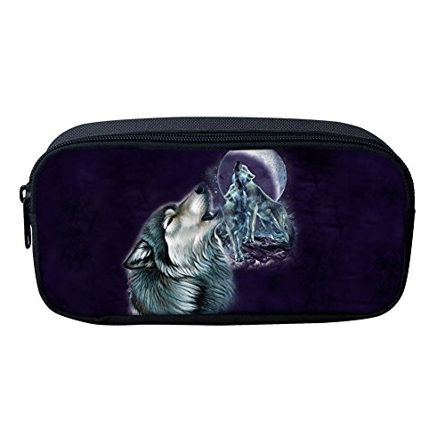 Nopersonality Creative Animal Loup Cheval Sac de crayon Portable Femme Maquillage Pouch Medium color 6
