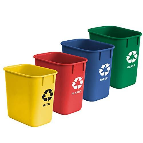 Acrimet Cubo de Basura Papelera para Reciclaje 12 L (Amarillo/ Azul/ Verde/ Rojo) (Plástico de Alta Calidad) (Juego de 4)