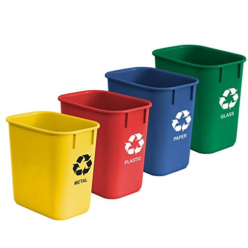 Acrimet Wastebasket Bin for Recycling 13QT (Plastic) (Blue Yellow Red Green) (Set of 4)