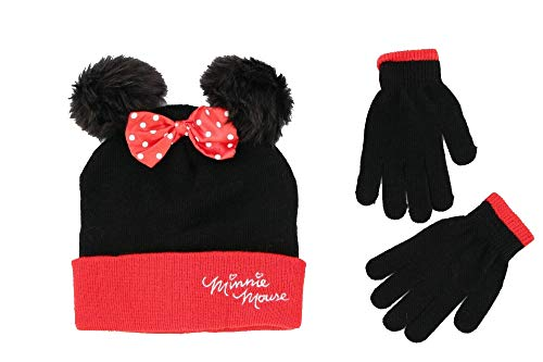Disney Little Girls Minnie Mouse Character Hat and Glove Cold Weather Set, Black, Red, Age 4-7