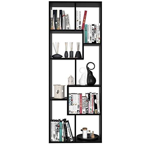 Homfa Estantería Librería Estantería de Pared Estantería para Libros Estantería Almacenaje con 8 Compartimentos Negro 60X24X160cm