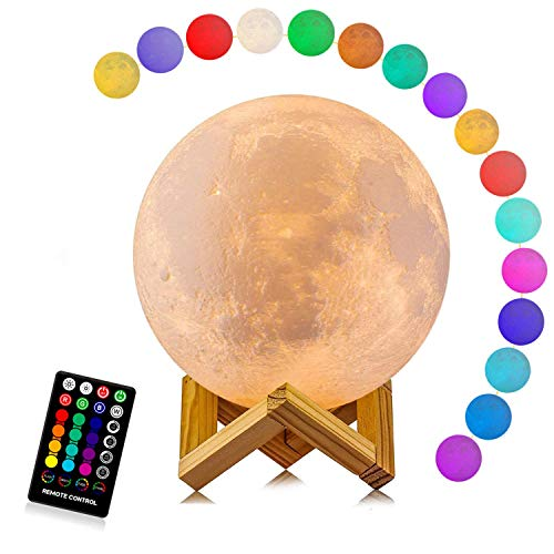 Moon Lamp, LOGROTATE 16 Colors LED 3D Print Moon Light with Stand & Remote&Touch Control and USB...
