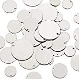 Pandahall 60pcs/Box Flat Round Stainless Steel Blank Stamping Tag Pendants 3/5 to 1-1/5' for Jewelry Making