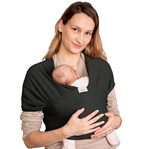 Elastisches Tragetuch Baby | Wickeltuch Baby Tuch | Babytrage Neugeborene bis Kleinkinder 15kg mit 3 Tragepositionen | 95% Baumwolle 5% Lycra - Schwarz