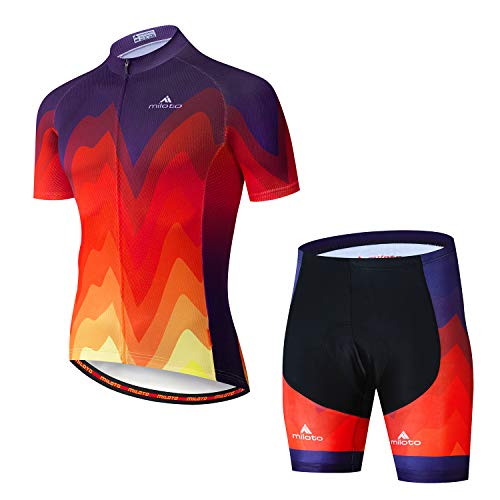 MILOTO Men's Cycling Jersey Set Reflective Short Sleeve Breathable(S,Flame)