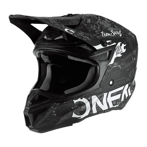 O'NEAL   Motocross-Helm   Motocross Enduro   2 Außenschalen & 2 EPS für erhöhte Sicherheit, Schale aus ABS, Nasenschutz aus Gummi   5SRS Polyacrylite Helmet HR   Erwachsene   Schwarz Weiß   Größe S