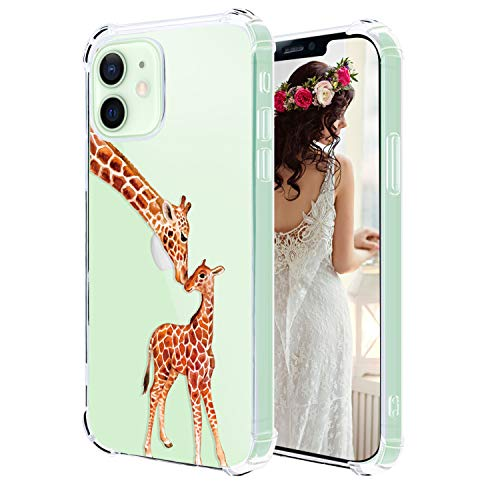 Hepix Cute Giraffe Clear iPhone 12 Case Two Lovely Giraffe 12 Pro iPhone Case, Slim Flexible Crystal TPU 4 Protective Bumpers Anti-Scratch Shock Absorption Camera Protection for iPhone 12/12 Pro 6.1'