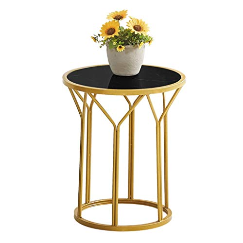Wrought Iron Sofa Side Table Round, Imitation Marble UV Board, Stable Structure, Easy to Move, The Best Companion for The Living Room Sofa, Multi-Color Optional