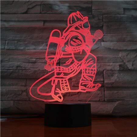 Lámpara de mesa de bombero 3D LED Botón táctil USB Cambio de color Bombero Luz de noche Decoración de cabecera Accesorios de iluminación Regalos