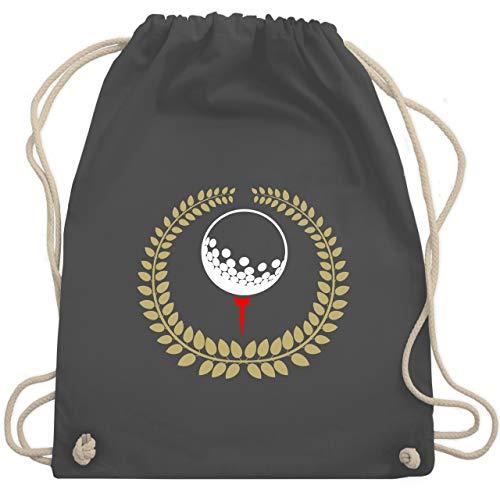 Shirtracer Golf - Lorbeerkanz Golfball Golf-Tee - Unisize - Dunkelgrau - tasche für golfbälle - WM110 - Turnbeutel und Stoffbeutel aus Baumwolle