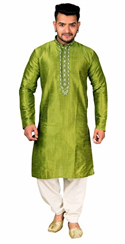 Männer Sherwani Kurta Shalwar Kameez Pyjama Wedding Tragen 1831 (XXXL (Chest- 46 inches), Moosgrün)