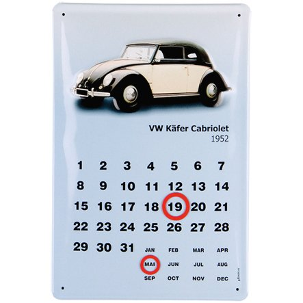 BRISA VW Collection - Volkswagen Blech-Schild Kalender Käfer/Beetle, VW-Retro-Fan-Souvenir, Geschenk-Idee (Cabrio 1980/20x30 cm)