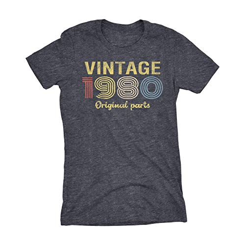 40th Birthday Gift Womens Shirt - Retro Birthday - Vintage 1980-001-Dk. Heather-Lg