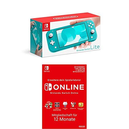 Nintendo Switch Lite, Standard, türkis-blau + Nintendo Switch Online Mitgliedschaft 12 Monate (Download Code)