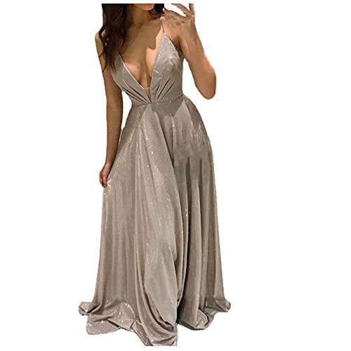 StarneA Ballkleider Damen Lang, Elegant Hochzeitskleid Sexy Ärmelloses Cocktailkleid Rückenfreies Abendkleider Mode Abschlusskleid Maxikleider