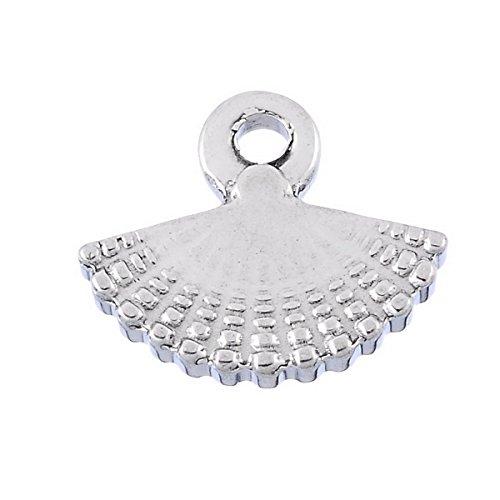 Housweety 2pcs Stainless Steel Silver Tone Fan Pendant Necklace 12x14.5
