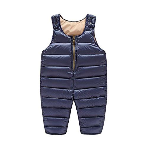 YOUJIA YOUJIA Baby Lässig Hose Trägerhose Verdicken Gepolstert Gesteppt Overall für Kinder 0-3 Jahre (Dunkel Blau, 100cm)