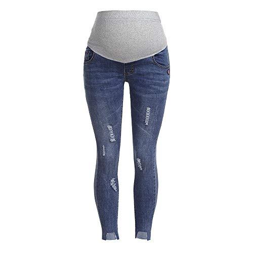 RISTHY Premamá Vaqueros Leggings Denim Pantalones Cinturón para Barriga Vaqueros Rotos Irregular Embarazada Maternidad Pantalones de Yoga para Mujer