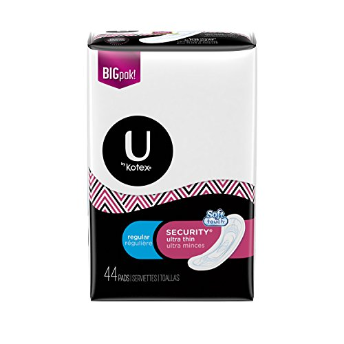 U by Kotex Security Ultra Thin Pads, Regular, Fragrance-Free, 44 Count
