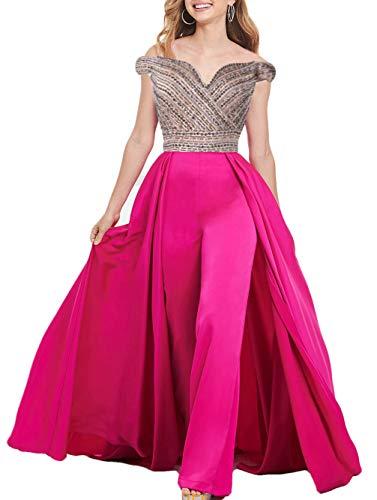 The Peachess Abendkleider mit Perlen und Porm-Overall, schulterfrei, formelle Hose, Anzug mit abnehmbarem Zug. - Pink - 36