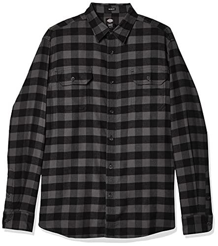 Dickies Herren Long Sleeve Flex Flannel Shirt Hemd mit Button-Down-Kragen, Schiefer/Schwarzer Büffelkaro, X-Groß