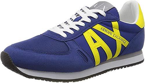 Armani Exchange Herren Sneaker, Blau (Blue+Yellow K493), 44 EU
