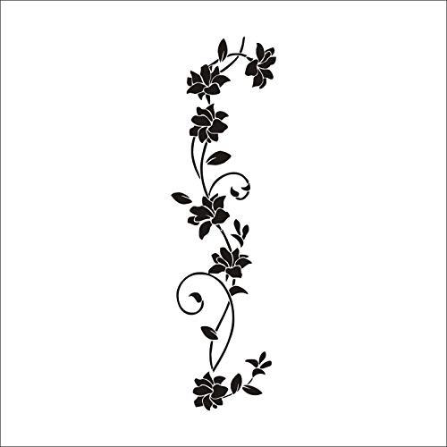 Klassiek zwart behang van rotan met bloemen, muurstickers in Europa en Amerikaans, fijn gesneden, decoratieve stickers voor woonkamer, slaapkamer