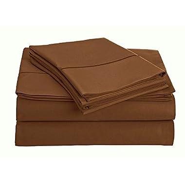 Thread Spread True Luxury 100% Egyptian Cotton 1000 Thread Count 4 Piece Sheet Set Dark Brown QUEEN