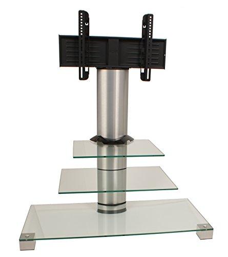 """VCM TV Rack Lowboard Konsole Fernsehtisch TV Möbel Standfuß Glastisch Tisch Phono Aluminium Glas Klarglas \""""Amalo Mini\"""""""