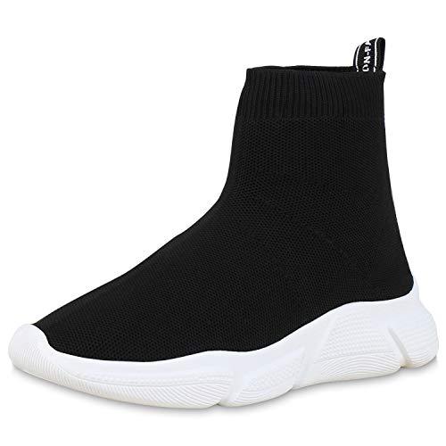 SCARPE VITA Damen Sportschuhe Slip Ons Strick Sockenschuhe Fitness Sneaker 180029 Schwarz Weiss 37