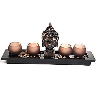 Zen Garden Thai Buddha Head Ornament Statue Candle Holders Gift Set