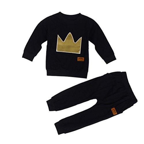 kingko® 1Réglez Infant Bébés garçons Couronne Embroided à manches longues T-shirt Tops + Pantalons Tenues Vêtements (12M)