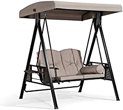 PURPLE LEAF 2-Seat Deluxe Outdoor Patio Porch Swing with Weather Resistant Steel Frame, Adjustable Tilt Canopy, Cushions a...