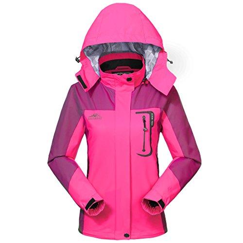 Imperméable Jacket Raincoat Femme Sportswear-GIVBRO 2017 Nouveau Design Outdoor Hooded Softshell Camping Randonnée Mountaineer Travel Jackets (rose, XXL)