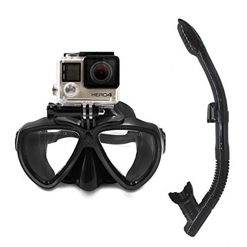 diving mask for go pros PATALACHI DERTA Silicone Diving Glass with Detachable Screw Mount Diving Mask Scuba Snorkel Swimming Goggles for Sports Camera GoPro HD Hero 8/7/6/5/4/3,GoPro Session,5/4 Session,DJI Osmo Action