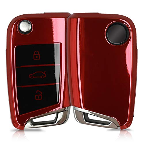 kwmobile Autoschlüssel Hülle kompatibel mit VW Golf 7 MK7 3-Tasten Autoschlüssel - TPU Schutzhülle Schlüsselhülle Cover in Hochglanz Rot