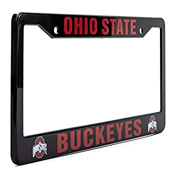 """EliteAuto3K Ohio State Buckeyes License Plate Frame Cover – Black – 12.25"""" x 6.25"""" - Ideal Gift for Sports Fans & Supporters – Slim Design"""