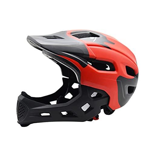 Casco de bicicleta de cara completa para niños, protector de barbilla desmontable, scooter deportivo de seguridad, bicicleta, monopatín, bicicleta MTB, casco ajustable para niños, niñas, 50-56 CM