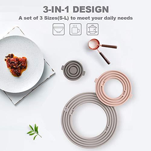 Walmeck 3-in-1 siliconen onderzettermatten, hot pads placemats, antislip, hittebestendig, waterdicht, voor hete gerechten, potten, pannen onderzetters