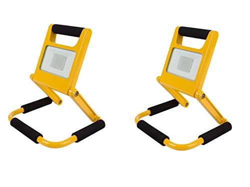 2er Set zusammenklappbare LED Baustrahler mit Akku, Fluter Arbeitsscheinwerfer 20W neutralweiß, Perel