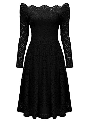 MISSMAY Women's Vintage Floral Lace Long Sleeve Boat Neck Cocktail Party Swing Dress (Black, Small, s)