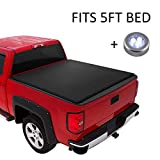 CARMOCAR Pickup Truck Bed Covers for Nissan Frontier 2005-2020 | 5FT Short Bed | Soft Roll-Up Tonneau Cover | Truck Bed Cover Accessories with Led Light Replacement