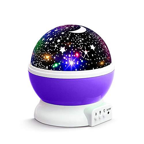 KKTICK Stelle Lampada, Proiettore Stelle Luce Notturna per Bambini con 4 Colori Lampadine LED 3 Offrire 8 Combinazioni Diverse Cosmos Stella lampada Ruotabile Proiettore Luci per Regali-Viola