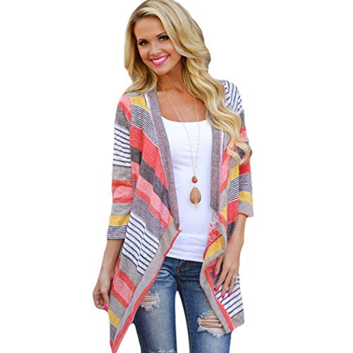 Livesimply Women's Cotton Casual Striped Cardigan