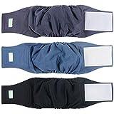 Wegreeco Washable Male Dog Belly Band (Stylish Pattern)- Pack of 3 - Washable Male Dog Belly Wrap, Dog Diapers Male (Black, Charcoal, Navy, Small)