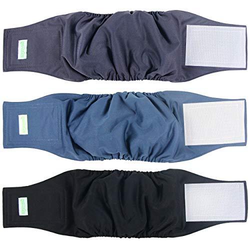 wegreeco Washable Male Dog Belly Band (Stylish Pattern)- Pack of 3 - Washable Male Dog Belly Wrap, Dog Diapers Male (Black, Charcoal, Navy, Medium)