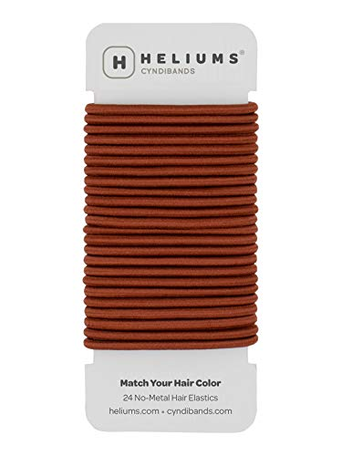 Cyndibands Auburn Red No-Metal 4mm 1.75 Inch Elastic Hair Ties Color Match Ponytail Holders - 24 Count