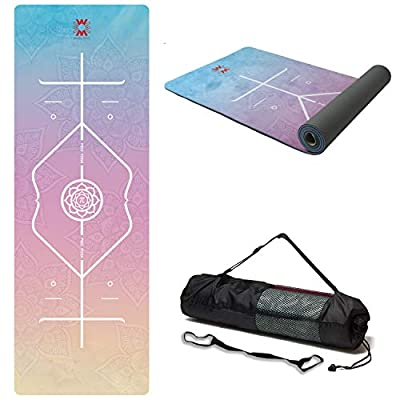 """WWWW 4W Suede TPE Yoga Mat Eco Friendly Non Slip Yoga Mats with Carrying Strap and Bag 72""""x 24"""" Extra Thick 1/4"""" Exercise & Workout Mat for Yoga Pilates Home Fitness"""